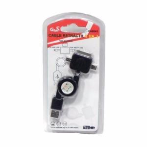 Cable USB 3en1 Datos+Carga Dock/MicroUSB/MiniUSB CAB043