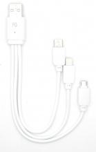 Cable USB 3 en 1 Datos + Carga iPhone/Micro USB/Tipo C CAB145