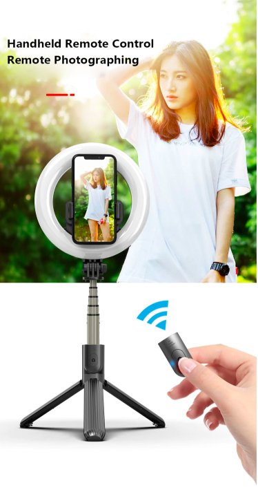 Palo Selfie Live Streaming +  Remote Bluetooth con Ring Led SPD073