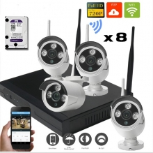 Kit NVR IP con Modulo Wifi + HDD 1TB + 8 Camaras Exterior NVR008