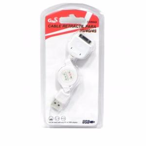 Cable Retractil USB Datos+Carga para iPhone 3G/4G/S CAB042