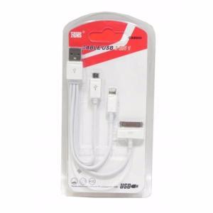 Cable USB 3en1 Datos+Carga MicroUSB/iPhone/iPad 4/5 CAB055